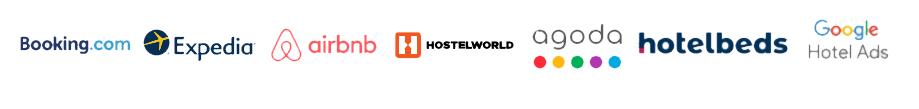 Booking.com, Airbnb, Agoda, Expedia, Google Hotel, Hotelbeds